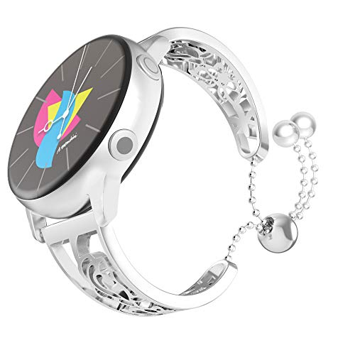 MoKo Armband Kompatibel mit Huawei Watch GT 2 42mm/Galaxy Watch Active/Galaxy Watch 42mm/Active 2/Garmin Vivoactive 3, 20mm Edelstahl Blumig Schmetterling Ersatzband Hohle Armreif - Silber