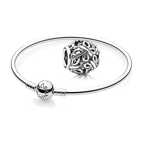 Original PANDORA Starterset / Geschenkset 925er Sterling Silber - 1 Armreif - Größe 21 cm - Art.Nr. 590713-21 und 1 Filigranes Silber Charm Schmetterling - Art.Nr. 790895