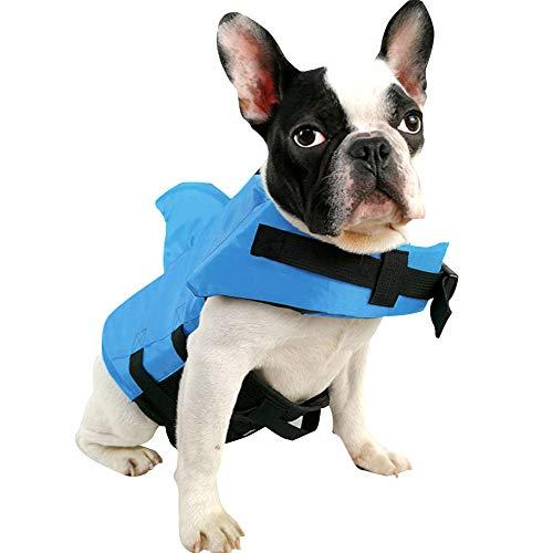 SUNFURA Haustier-Schwimmweste, Hunde-Badeanzug mit Haiflosse, Schwimmhilfe mit hervorragendem Auftrieb und Rettungsgriff für kleine, mittelgroße und große Hunde (blau, S)