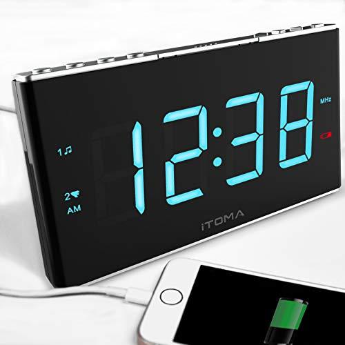 Radiowecker, iTOMA FM Digital Radiowecker/Wecker mit Zwei Alarmen, 4-Stufen-Dimmer, 1,8-Zoll-LED-Anzeige, weißes Rauschen, USB-Ladeanschluss, Sicherungsbatterie (CKS703)