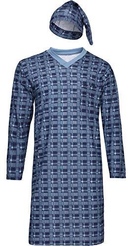 Timone Herren Nachthemd mit Schlafmütze TIDR5001 (Jeans Kariert, XL)