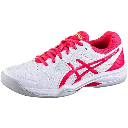 ASICS Damen Gel-Dedicate 6 Indoor Leichtathletik-Schuh, Weiss/Laser Rosa, 36 EU