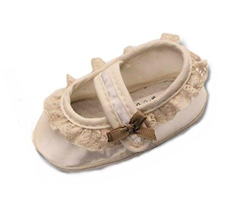 Festliche-r Baby-Schuh TP26/00 Gr. 18 Tauf-Schuhe Ecru Creme für Babies kleine Mädchen zu Hochzeit-en