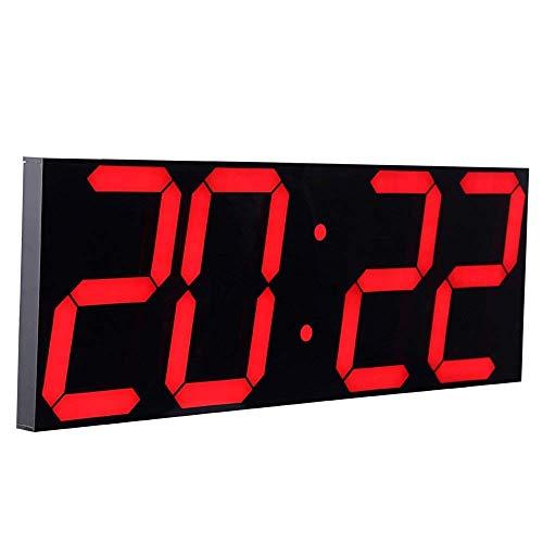CHKOSDA LED Uhr Digital Uhr Große Wanduhr mit 18-Zoll-LED-Anzeige, Countdown-Uhr mit 8 einstellbaren Helligkeiten, 16 Wecker, 12/24-Stunden-Anzeige, Temperatur- und Kalenderanzeige(Rot)