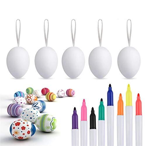 50x Ostereier Dekoeier Plastikeier Eier 8 Wachsmalstift für Ostern Zum Basteln Bemalen Aufhängen aus Plastik (50 Pack)