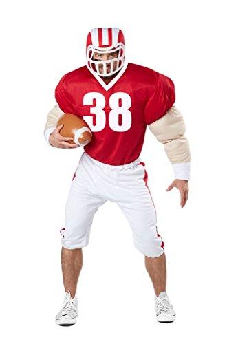 American Football Spieler Kostüm (mit Helm und Ball) Karneval Verkleidung Herren Größe S/M