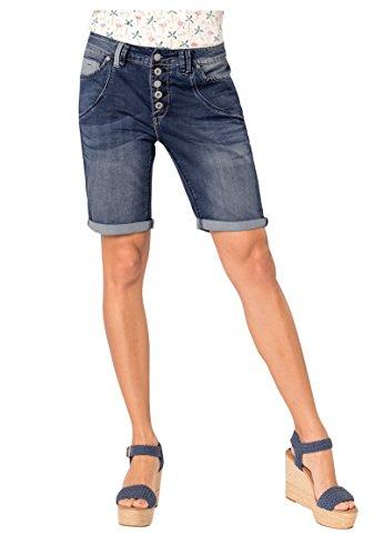 Urban Surface Damen Jeans Bermuda Shorts mit Knopfleiste Blue L