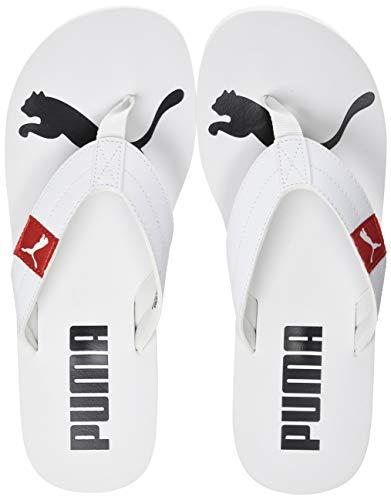 Puma Unisex-Erwachsene Cozy Flip Zapatos de Playa y Piscina, Weiß White-High Risk Red, 44.5 EU