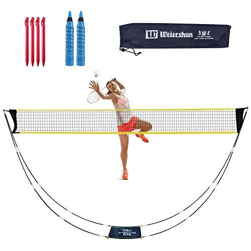 Rosybeat Badmintonnetz Tennisnetz mit Stand-Tragetasche 4PCS Zeltnägel 2 Stück Griffbänder für Außen und Innen, Strand, Platz-Schnellinstallation