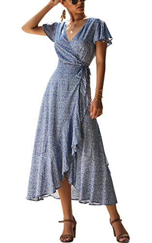 Spec4Y Damen Boho Lange Kleider V-Ausschnitt Sommerkleider Kurzarm Wickelkleid Maxikleid Strandkleid mit Schlitz Blau M