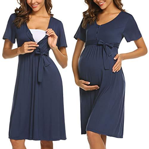 ADOME Frauen Pflege/Geburt/Krankenhaus Nachthemd Kurzarm Nachthemd Umstandsnachthemd mit Knopf Stillnachthemd für Schwangere und Stillzeit, B-dunkelblau, S