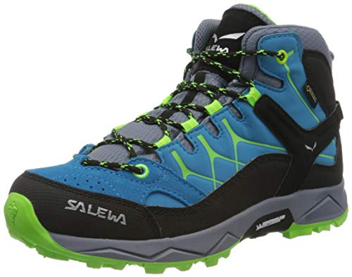 Salewa JR Alp Trainer Mid Gore-TEX Trekking-& Wanderstiefel, Blue Danube/Fluo Green, 31 EU