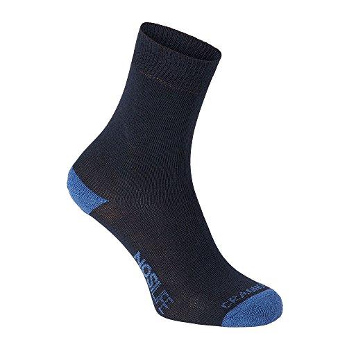 Craghoppers Nosilife Travel Single Socke Blau, Socken, Größe EU 35-38-UK 3-5 - Farbe Dark Navy - Soft Denim