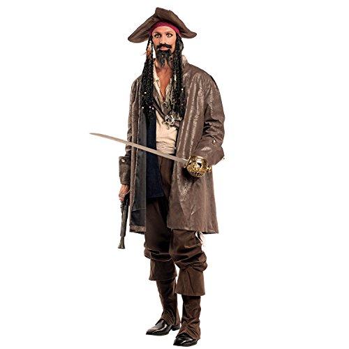 Krause & Sohn Herren Kostüm Piratenkapitän Jack inkl. Kopftuch mit Rasta-Haaren Seeräuber Pirat Fasching Karneval Karibik Freibeuter (M)