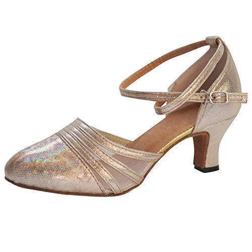 Damen Standard Latein Tanzschuhe Ballsaal Tango Salsa Schuhe Klassische Pumps Elegante Brautschuhe Knöchelriemen Mittelhohe Weicher Boden Schlüpfen für Party Hochzeit Celucke (Beige, EU39)