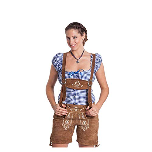 FROHSINN Trachten Damen Lederhose - traditionelle mittellange Trachtenlederhose (Hellbraun, 42)