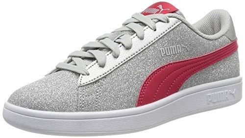 PUMJV|#Puma Smash V2 Glitz Glam Jr Sneaker Mädchen, Grau (Puma Silver-Nrgy Rose-Gray Violet 13), 35.5 EU