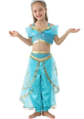 Lito Angels Mädchen Jasmin Kleid Prinzessin Kostüm Bauchtanz Weihnachten Halloween Verkleidung Karneval Party Outfit Größe 6-7 Jahre A