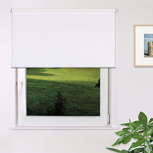 Fensterdecor Fertig Verdunkelungs-Rollo, Sonnenschutz-Rollo zum Abdunkeln von Räumen, Blickschutz-Rollo in Weiß, lichtundurchlässig und Blickdicht, 160 x 180 cm