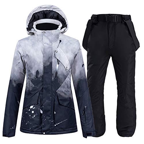GITVIENAR Skijacke und Hosen für Damen und Herren, Wind- und wasserdichte Snowboard-Jacke und Hose Set (Schwarz + Schwarz, M)