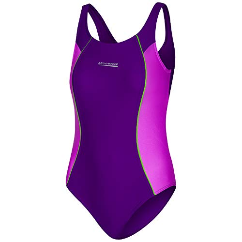 Aqua Speed Bademode Einteiler Mädchen   Sportbadeanzug   Badeanzug Strand UV-Schutz   Kinderbadeanzug   Schwimmbekleidung   Swimsuit   Violet - Dark Violet - Green - 48   Gr. 140 cm   Luna