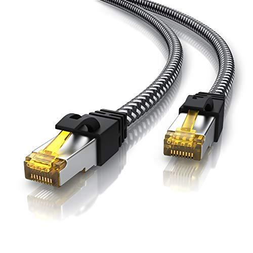 CSL - 10m CAT 7 Netzwerkkabel Gigabit Ethernet LAN Kabel - Baumwollmantel - 10000 Mbit s - Patchkabel - Cat.7 Rohkabel S FTP PIMF Schirmung mit RJ 45 Stecker - Switch Router Modem Access Point