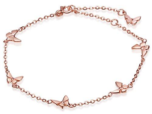 Unendlich U Niedlich 6 Schmetterling Damen Charm-Armband Gliederarmband 925 Sterling Silber Armkette Armkettchen Armreif, Rosegold
