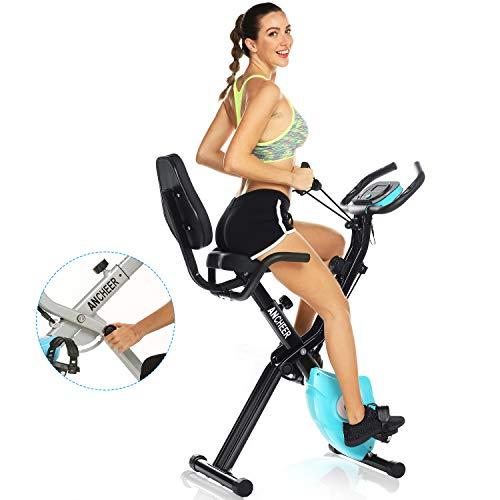 ANCHEER Faltbares Heimtrainer Fitness Fahrrad mit Smartphone APP, 3 in 1 klappbares Fahrradtrainer, Fitnesstrainer Sportgerät mit Rückenlehne & einzigartiges Zugbandsystem Handpulssensoren Ergometer