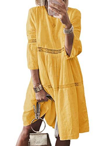Minetom Damen T-Shirt Kleid Rundhals 3/4 Ärmel Böhmen Kleider Langes Shirt Lose Tunika Elegant Spitze Hohl Stickerei A-Linie Partykleid Große Größe Gelb 44