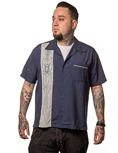Steady Clothing Herren Vintage Bowling Hemd - V8 Pinstripe Panel Retro Bowling Shirt Dunkelblau XL