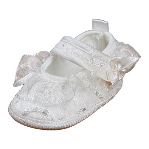 Festliche Babyballerinas Babyschuhe Taufschuhe silber creme Gr. 19 Modell 2651-i