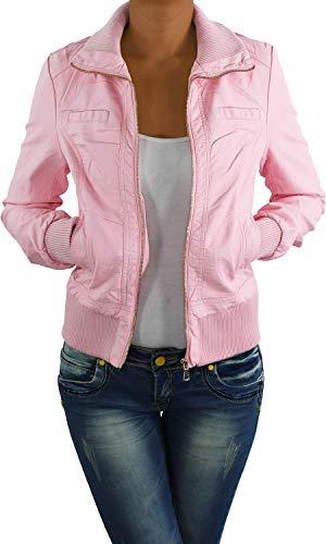 Damen Lederjacke Kunstlederjacke Leder Jacke Damenjacke Jacket Bikerjacke S - 4XL Rosa M