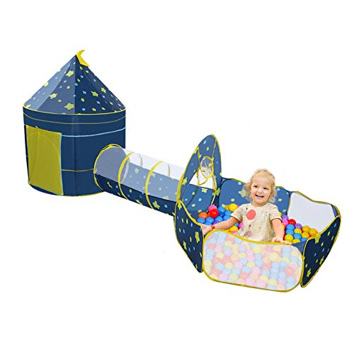 Cocoarm 3-in-1 Kinder Spielzelt, 3-Teiliges Kinderspielzelt mit 1 Schlosszelt, 1 Krabbeltunnel und 1 Ballpool für Jungen Mädchen drinnen und draußen