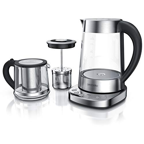 Arendo - Glas Wasserkocher mit Temperatureinstellung und Teesieb sowie Aufsatz - Türkischer Teekocher - Edelstahl - Temperaturen 70, 80, 100 Grad - 1,7 Liter - 2400 Watt - Abschaltautomatik