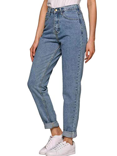 Onsoyours Damen Jeans Boyfriend High Waist Jeanshose Locker Lang Blau Hose Jeans Straight Lässig Weich Push Up Denim Pants (M, Hellblau)
