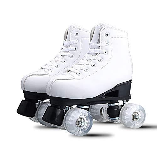 Rollschuhe Double Line Skates Damen Herren Erwachsene Two Line Skate Schuhe Patines Mit White Pink PU 4 Wheels,44