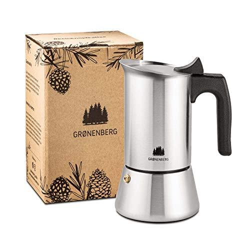 Groenenberg Espressokocher Induktion geeignet | Edelstahl | 4-6 Tassen Espressokanne | 200-300 ml Mokkakanne | Camping Kaffeekocher mit Ersatz Dichtung | Espresso Kocher Alu-frei (6 Tassen (300 ml))