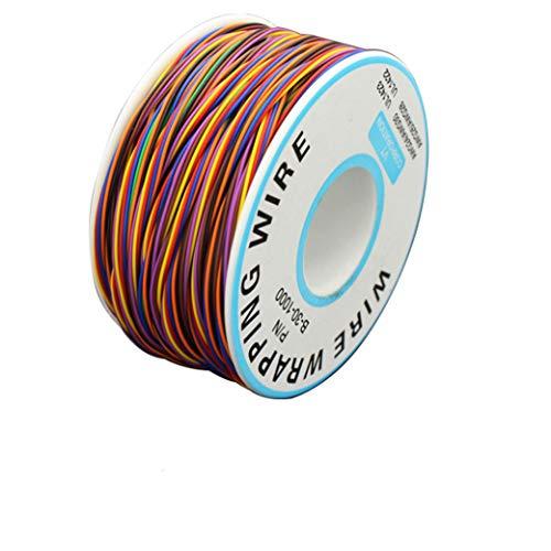 BlueXP 280M Isolierung Test Wrapping Kabel 8-Adrig Gefärbte Verzinnte Kupfer Solid Kabel mit Lötkolben Schwamm Kabel 0,6mm2 AWG 30 P/N B 30 100 Laptop Motherboard Elektronischer Test Kabel