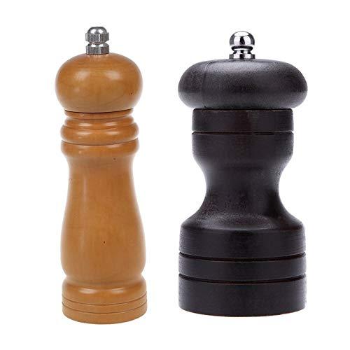 Automatisch nachfüllbare Handschüttle 2 Stück Pfeffer Gewürzmühle Shaker Mühle Vintage Manuelle Salzschleifwerkzeug for Pfeffer - 6 Zoll 4 Zoll