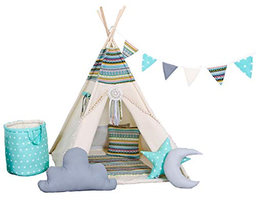 Golden Kids Kinder Teepee Tipi Set für Kinder Spielzeug drinnen draußen Spielzelt Zelt 8 Elemente dabei Tipi-Set Indianer Indianertipi mit Fenster usw. (mit Zubehör, Apache)