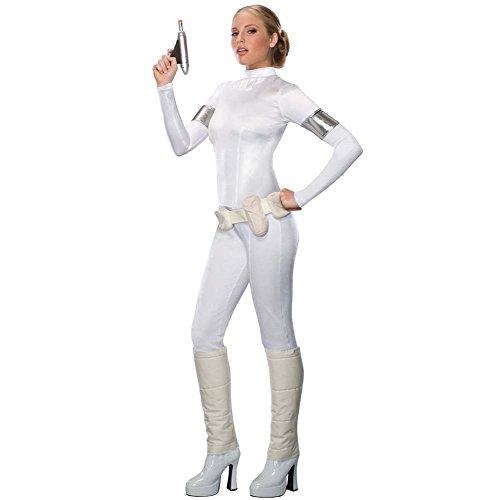 Star Wars Padme Amidala Damen Kostüm enger Langarm Overall, weiß - S