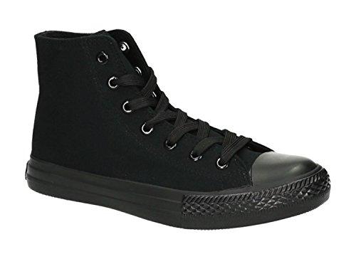 JUMEX Neu Damen Sneakers Freizeit Turnschuhe High Top Schuhe (40, Schwarz 2)