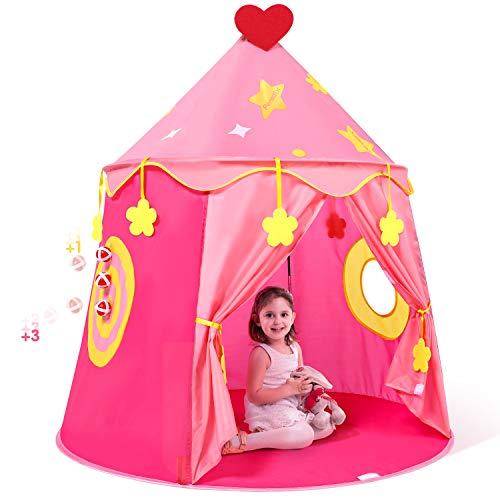 Peradix Kinderspielzelt Mädchen Prinzessin Prinz Zelt Prinzessinnenschloss Pop-UP Babyzelt Spielhaus mit Tragetasche und 3 Bälle, Geschenk für Kinder