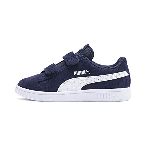 PUMA Unisex Kinder Smash v2 SD V PS Sneaker, Peacoat White, 34 EU