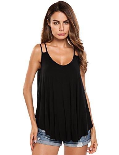trudge Damen Sommer Spaghetti Tops Strandkleid Trägerkleid Frauen Shirt Bluse Oberteile Cool Locker Lässiges Sexy Ärmelloses (XXL, Schwarz)