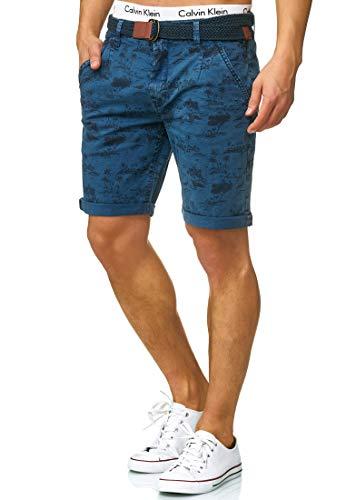 Indicode Herren Lilestone Chino Shorts mit 4 Taschen inkl. Gürtel aus 98% Baumwolle | Kurze Hose Regular Fit Bermuda Stretch Herrenshorts Short Men Pants Sommerhose für Männer China Blue S