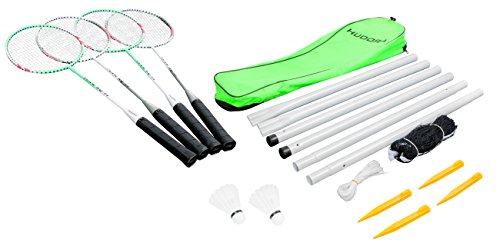 HUDORA Badminton-Set mit Netz - 4 Badminton-Schäger + 2 Kork Badminton-Bälle - 76413