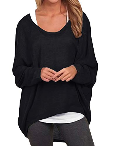 ZANZEA Damen Lose Asymmetrisch Jumper Sweatshirt Pullover Bluse Oberteile Oversize Tops Schwarz EU 42-44/Etikettgröße L