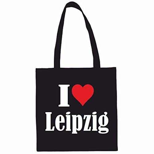 Reifen-Markt Tasche I Love Leipzig Größe 38x42 Farbe Schwarz Druck Weiss