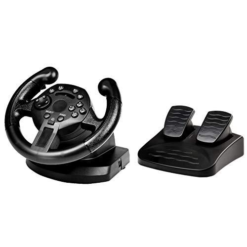 WRISCG Rennlenkrad, Gaming-Lenkrad mit reaktionsfähigem Pedal, 90Grad Driving Force Gaming Rennlenkrad, Mit Vibrationsfunktion, Lineares analoges Signalpedal